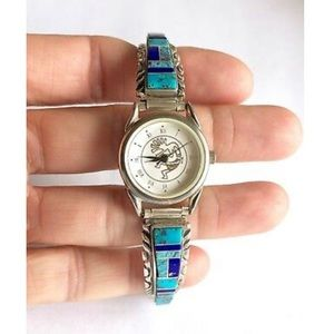 Accessories - Navajo Sterling Turquoise And Lapis Inlay Watch